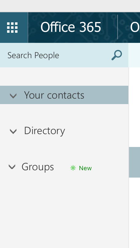 Outlook groups left column