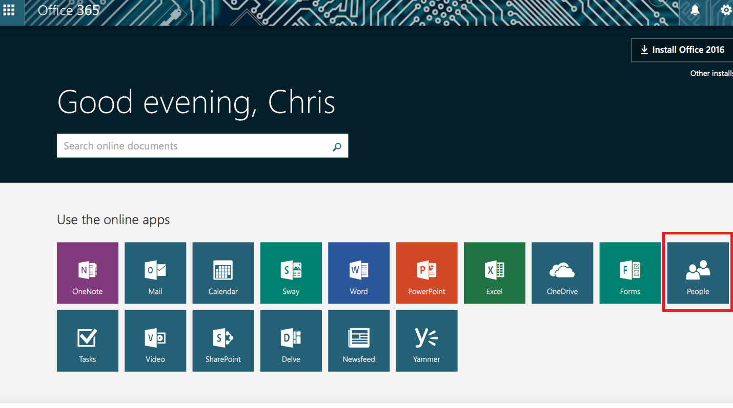 People icon in Office 365